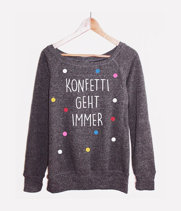 Sweater mit Konfetti, Typo / print sweater, confetti made by KitschundKrempel via DaWanda.com