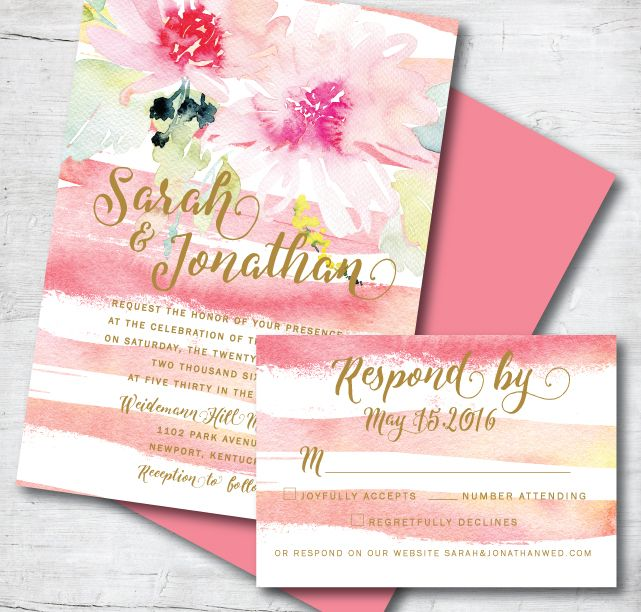 55 best watercolor wedding invitations images on pinterest
