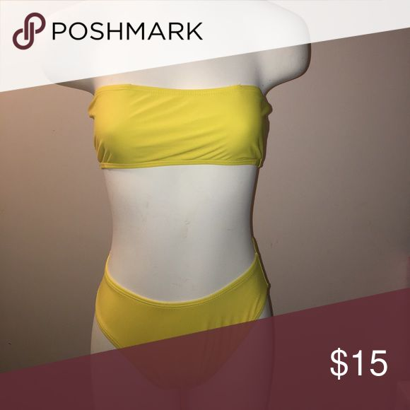High waisted bandeau bathing suit Yellow high waisted bathing suit. New condition. Bought from another posher but it did not fit me. Would fit s/m best Swim Bikinis