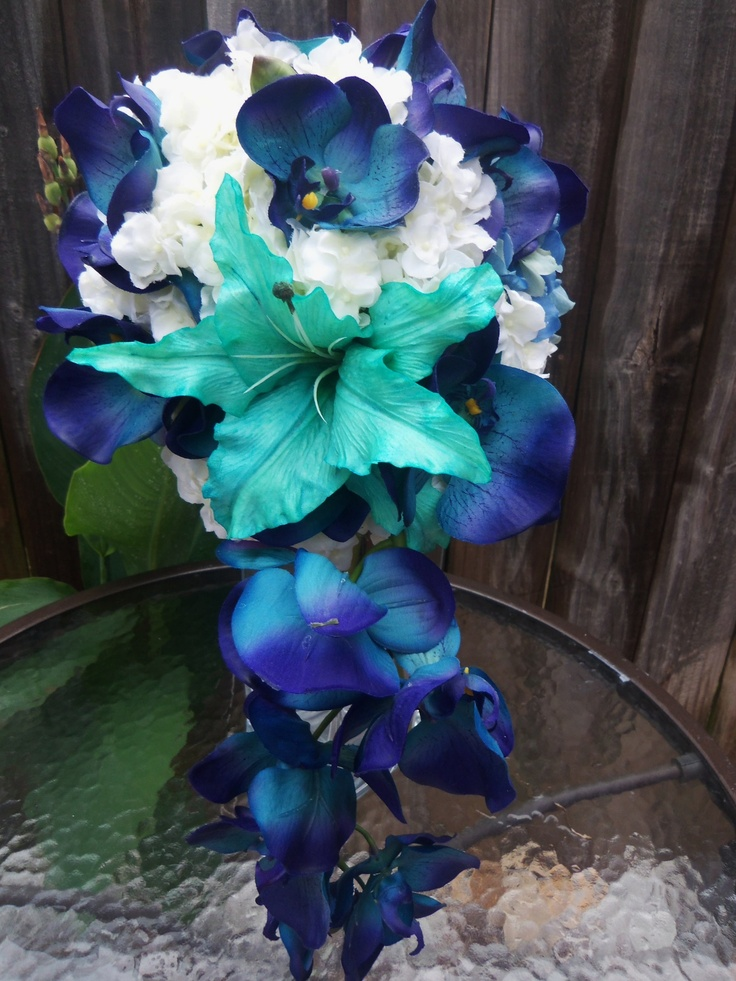My Bouquet Blue Orchids White Hydrangea And An Aqua Lily