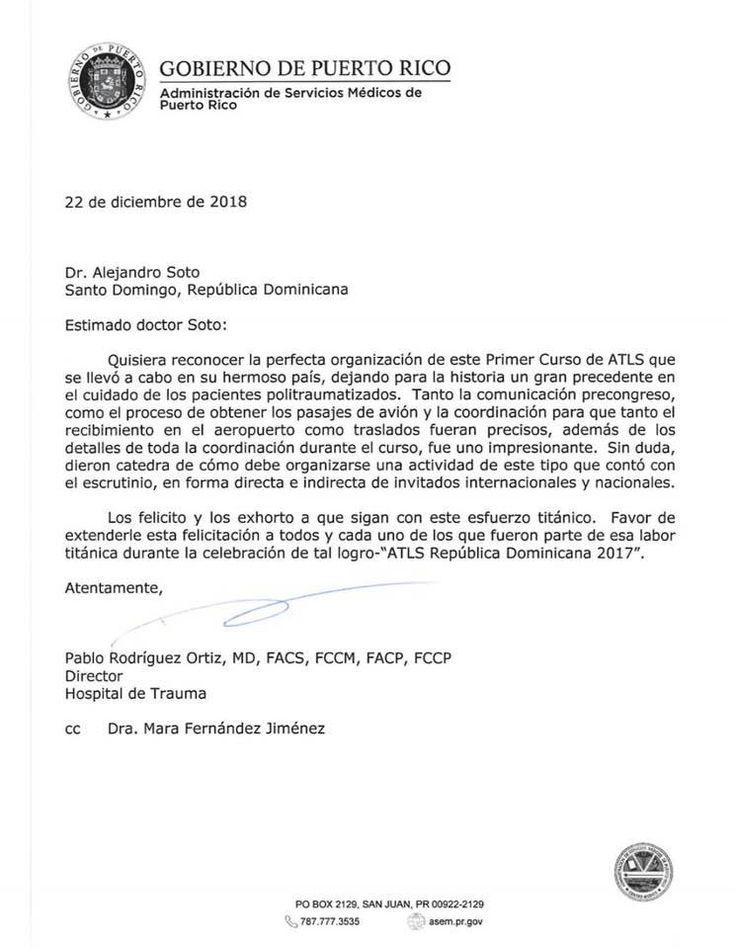 Carta de reconocimiento a nuestro amigo y compadre Dr. Alejandro Soto Mendez. Por parte del Dr. Pablo Rodriguez del Hospital de Trauma de Puerto Rico... Felicidades