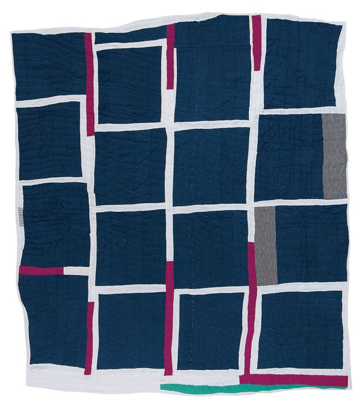 Annie Mae Young, born 1928. Blocks and strips, ca. 1970, cotton, polyester, synthetic blends, 83 x 80 inches.