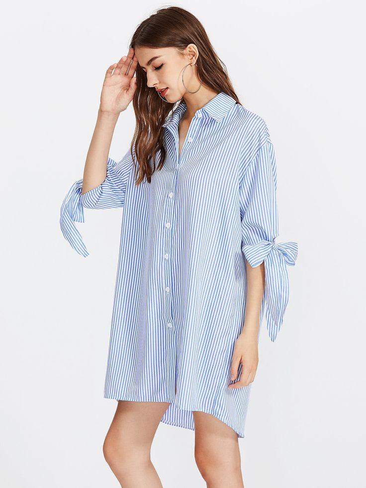 Shop Vertical Striped Bow Tie Cuff Dip Hem Shirt Dress online. SheIn offers Vertical Striped Bow Tie Cuff Dip Hem Shirt Dress & more to fit your fashionable needs.