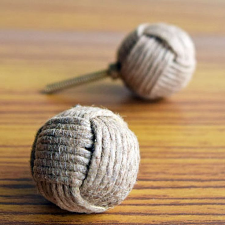 Jute Draw Knob Drawer Pull or Handle. Nautical rope by Heirloom142