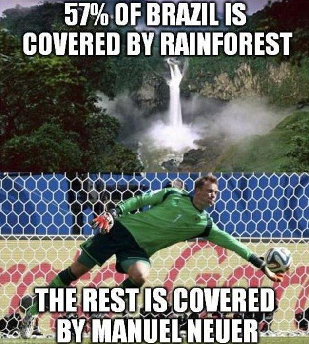 Covering the ground: This viral paid tribute to Germany keeper Manuel Neuer, who repelled almost all of Brazil's attacks