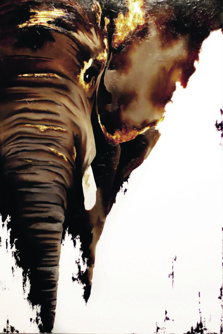 Mr. Phant - Peinture,  24x36x2 in ©2016 par Fanny Duhaime -                                            Art figuratif, Animaux, elephant, animal, animaux, trompe, brun, or, contemporain, blanc, moderne