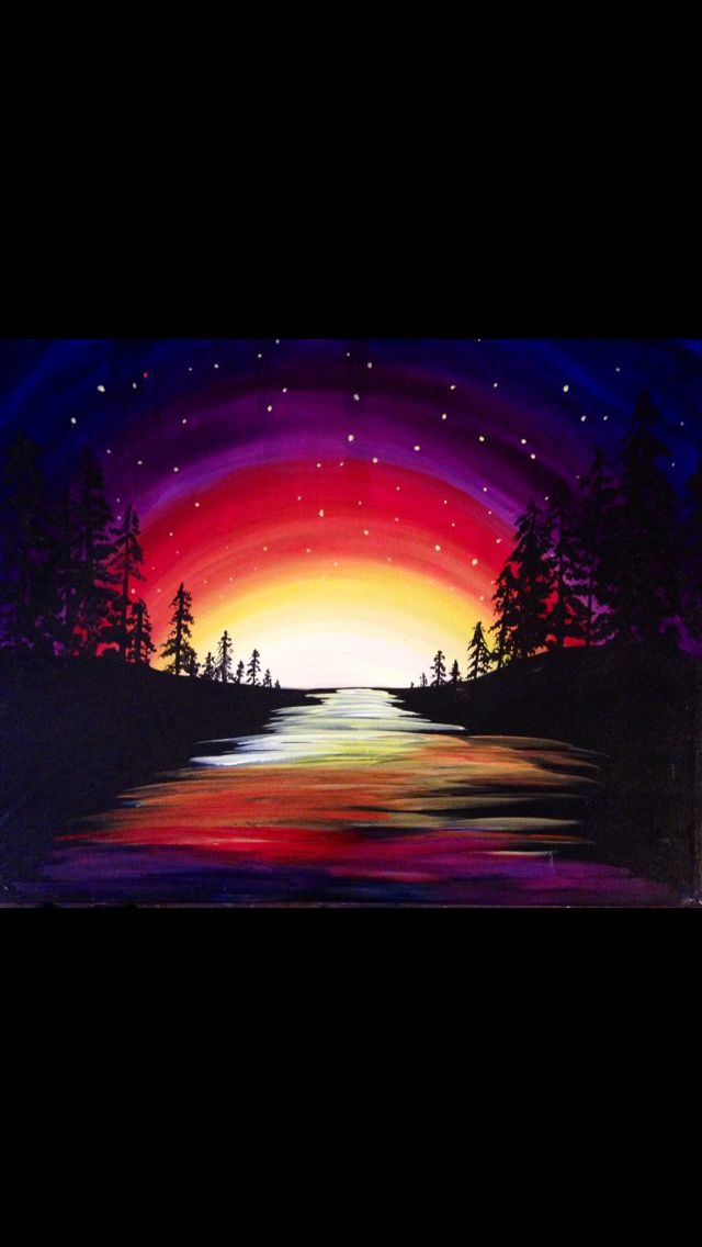 Vivid bold colored sunset blended into starry night. Acrylic beginner painting idea.