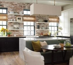 love the brick wall: Open Shelves, Floating Shelves, Idea, Brick Wall, Black Cabinets, Exposed Brick, Open Kitchens, Expo Brick, Modern Kitchens