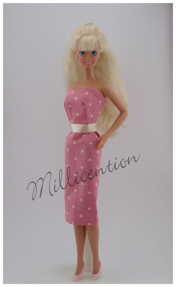Pink and cream polka dot Barbie doll sheath dress