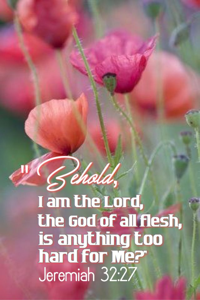 """""""""""Behold, I am the Lord, the God of all flesh. Is anything too hard for me?"""" Jeremiah 32:27 ESV"""
