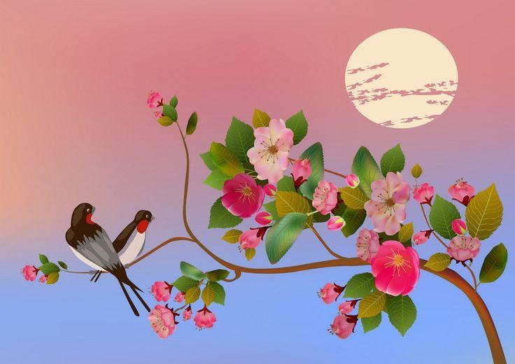 Птицы на Ветках Сакуры