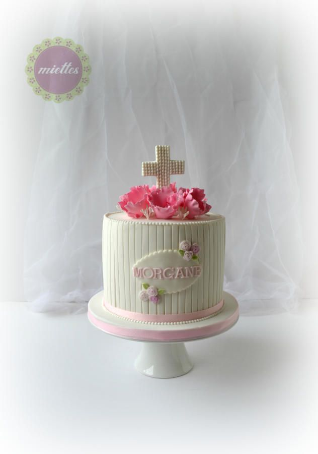 First Holy Communion - pink flowers by miettes