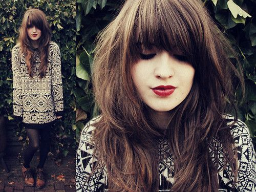 Hair Styles For Long Thick Hair: Best 25+ Heavy Bangs Ideas On Pinterest