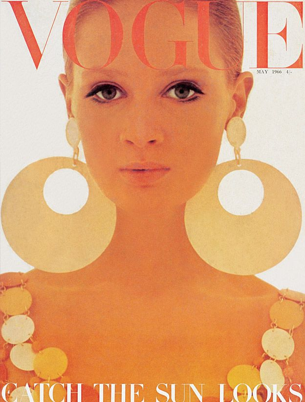 Celia Hammond photographed in Paco Rabanne on the cover of British Vogue, May 1966.