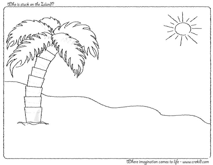 Who is stuck on the Island? CreKid.com - Creative Drawing Printouts - Spark your child's imagination and creativity. So much more than just a coloring page. Preschool - Pre K - Kindergarten - 1st Grade - 2nd Grade - 3rd Grade. www.crekid.com
