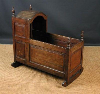 18th Century English Antique Oak Rocking Cradle, Circa 1780
