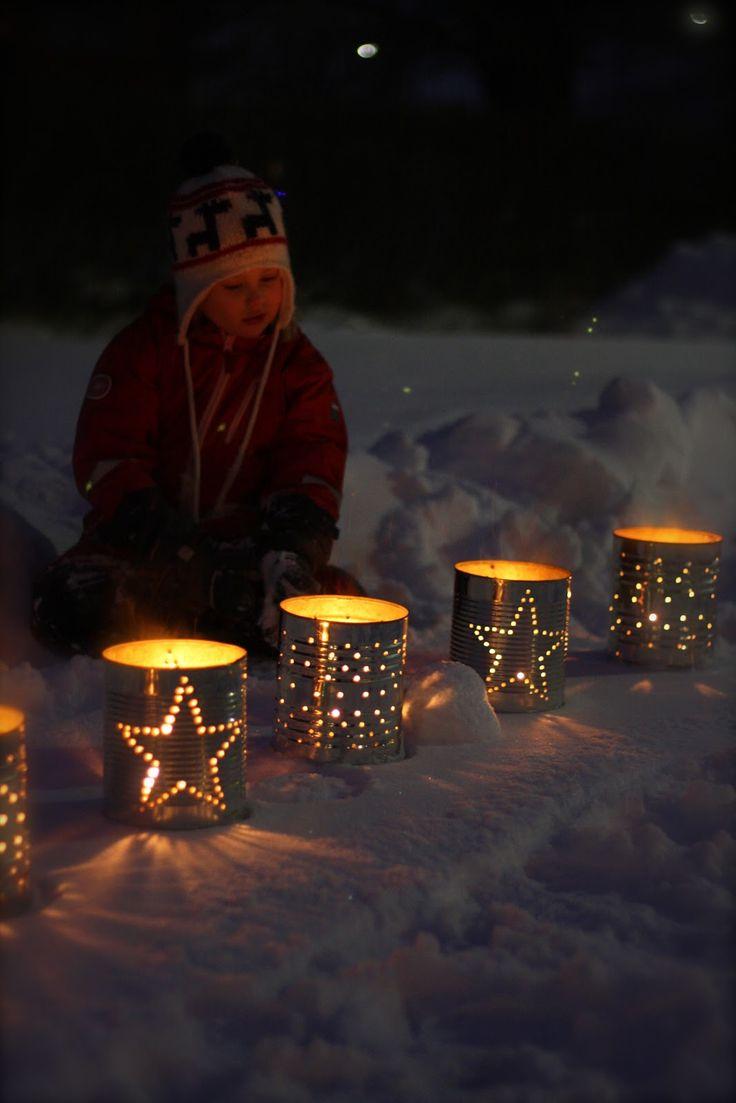 Vardagspärlor & småstjärnor: Lyktor av konservburkar