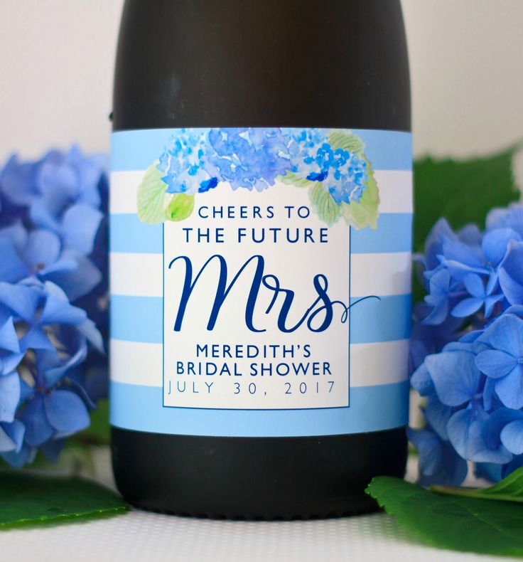 Planning a bridal shower?  Check out these Hydrangea Bridal Shower Champagne Labels. Personalized Bridal Shower Favors. Watercolor Flowers Bottle Label. Garden Shower Gifts for Guest. Bridal Shower Ideas