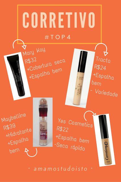 Amamos Tudo Isto: #TOP4 CORRETIVO: REVIEW #barato #makeup #corretivo