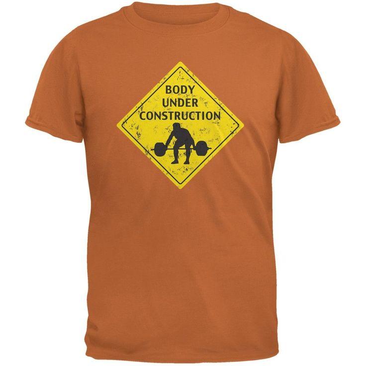 Body Under Construction Funny Texas Orange Adult T-Shirt