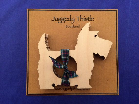 Wooden Scottie Dog Napkin Rings Set of 4 by JaggedyThistle on Etsy
