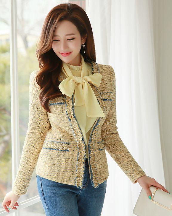 StyleOnme_Denim Trim Tweed Jacket #pastel #yellow #sweet #springtrend #tweed #denim #jacket #koreanfashion #kstyle #feminine #elegant