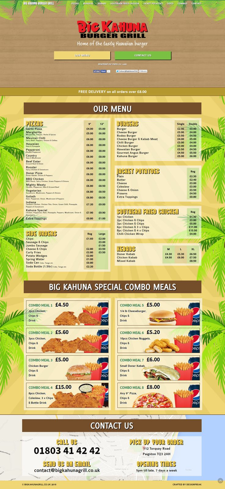 Big Kahuna Burger Grill Menu One Page Website By DesignFreak OnePageWebsite WebDesign