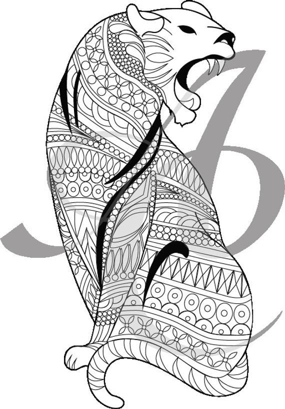 Big Cat Zentangle Coloring Page Big Cats Dog Images Cats