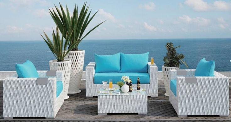 Caribbean White Wicker Outdoor PE Rattan Wicker Patio Furniture Set