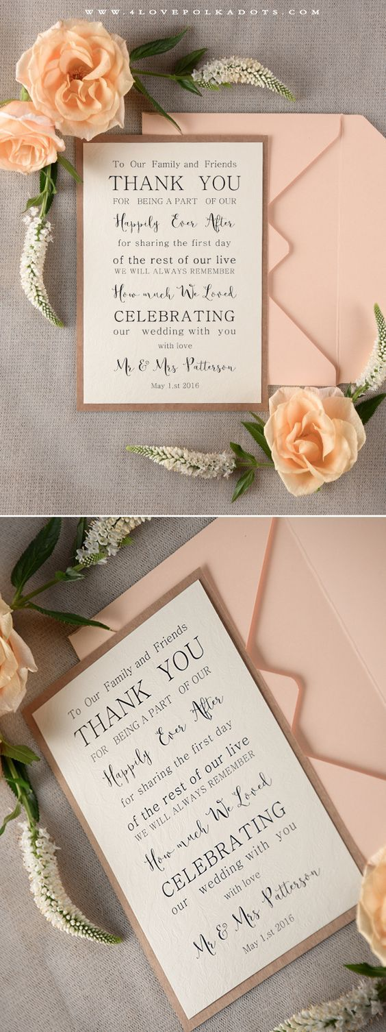 personalized wedding thank you notes%0A elegant card and pink envelop of wedding thank you cards  rustic chic  wedding invitations