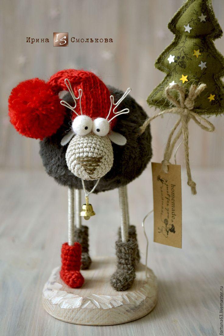 Купить ОЛЕНЬ новогодний - ярко-красный, олень, олени, елка, интерьерное украшение, новогодний декор