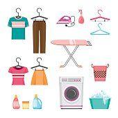 Limpieza, conjunto de iconos de servicio de lavandería