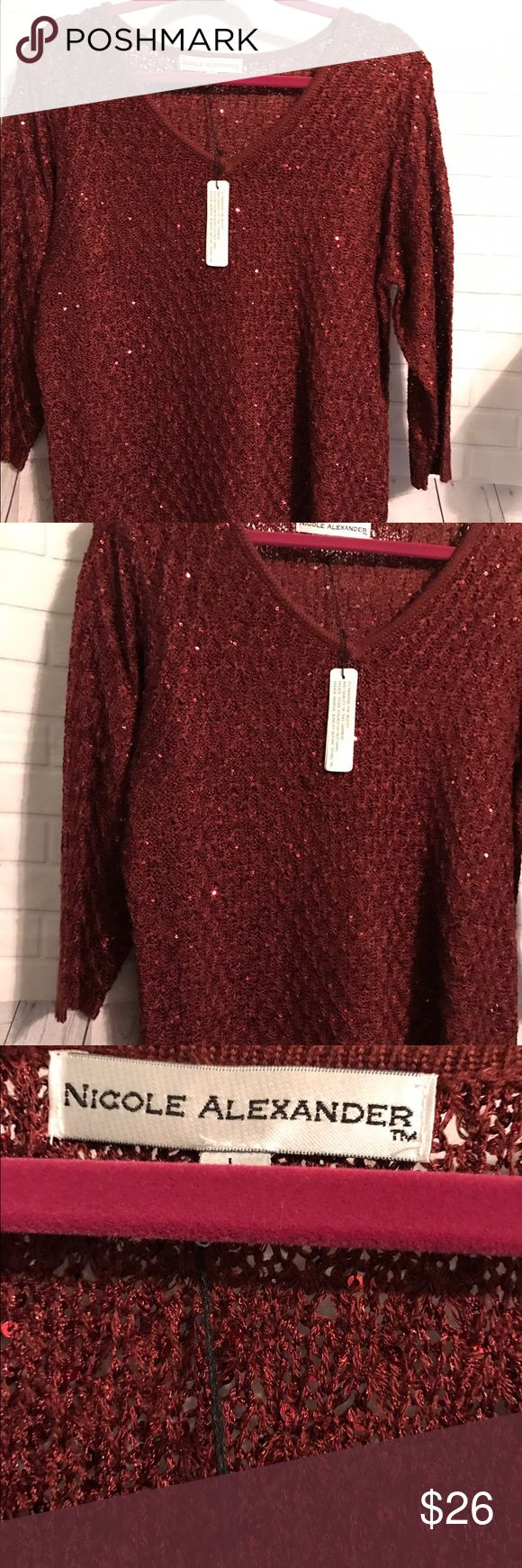 New Tunic 3/4 Sleeve light sweater Very cute sequins Sweater, this is burgundy color nicole alexander Sweaters Crew & Scoop Necks