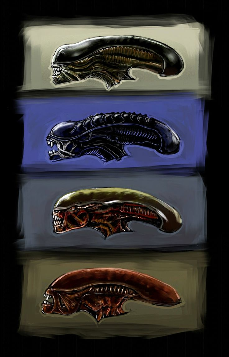 Four movies; four xenomorph designs