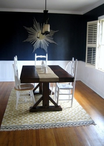 Navy Blue Dining Room With White Trim And Wainscoting