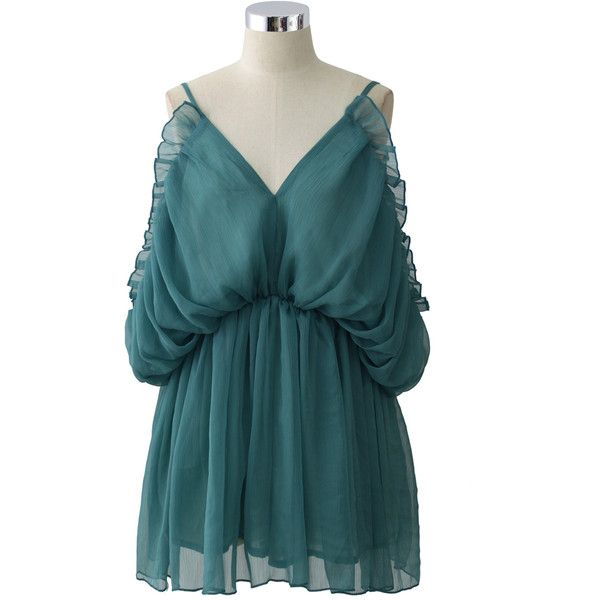 Chicwish Turquoise Sylphlike Ruffled Playsuit ($40) ❤ liked on Polyvore featuring jumpsuits, rompers, green, ruffle slip, blue rompers, blue slip, playsuit romper and green slip