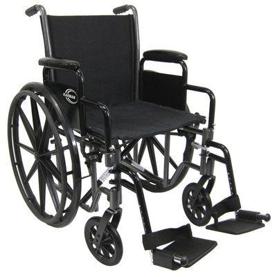 "Deluxe Standard Wheelchair Seat Size: 16"" W x 16"" D (Narrow), Arm Type: Fixed Padded Full Armrests, Front Rigging: Swingaway Footrest"