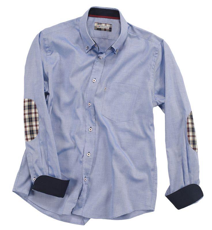 Camicia celestina con toppe sui gomiti a contrasto. Seguici anche su                            www.redisrappresentanze.it