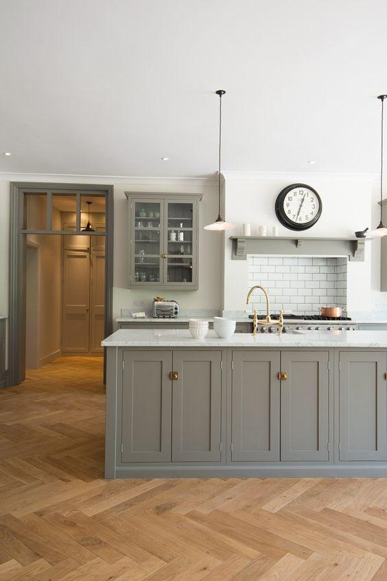 grey hamptons style kitchen, shaker cabinets, herringbone timber floor, marble benchtop