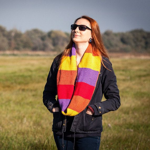 Yellow Ornge Red Purple Long Shawl / 100% Cotton by RUKAMIshop