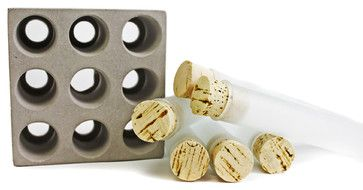 Gray Concrete 9-Spice Tube Set - modern - food containers and storage - Port Living Co. LLC