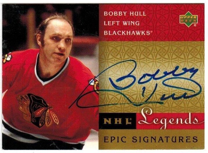 Bobby Hull BLACKHAWKS 2001 UD NHL LEGENDS EPIC SIGNATURES Blue Ink AUTOGRAPH BH #ChicagoBlackhawks