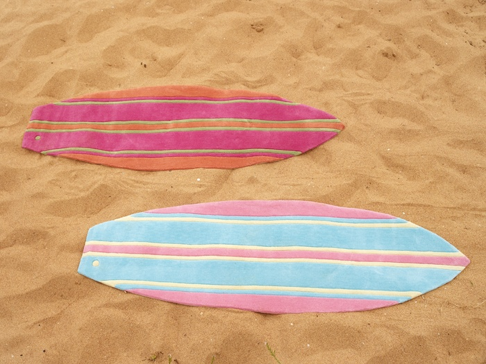 Orange Stripe and Aqua Stripe Surfboard Rugs|