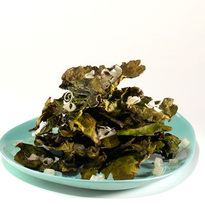Crunchy: Crispy Tamari Kale Chips    Ingredients: Olive oil, tamari, sherry vinegar, kale, Parmesan cheese    Calories: 84