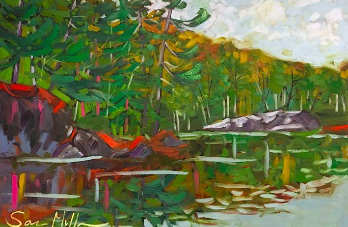 Opinicon Reflections by Sara Alex Mullen. Ottawa artist, Canadian artist, landscape painter. santinigallery.com