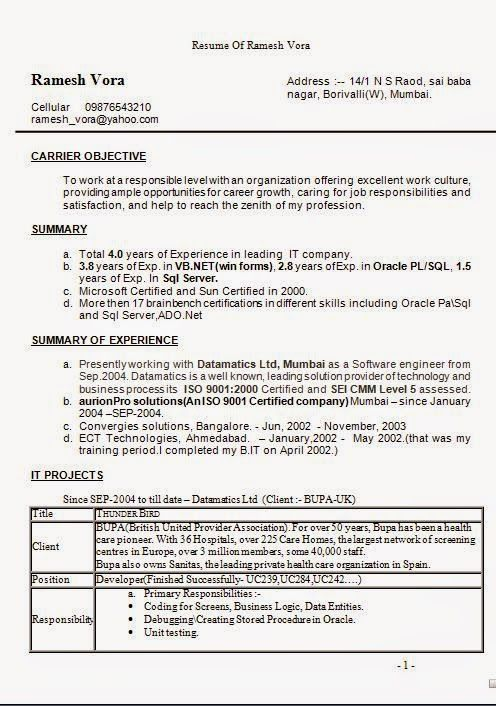 great sample resumes Sample Template Example of ExcellentCV - oracle pl sql developer resume sample