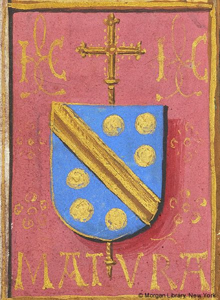 Escutcheon with arms of Jean Carondelet (azure a fasce and six bezants or en orle, an archiepiscopal cross in pale beneath the shield | Book of Hours Belgium | Bruges | ca. 1500 | The Morgan Library & Museum