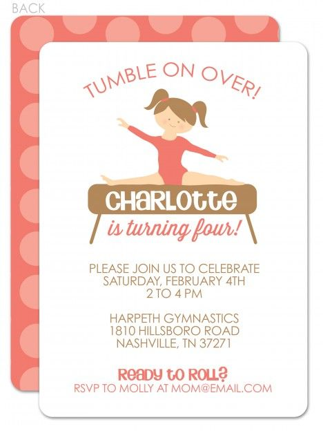 Such a sweet gymnastics birthday invitation! Gymnastics Birthday Invitation   Swanky Press - you can change the hair, eye or skin color to look like the birthday girl...