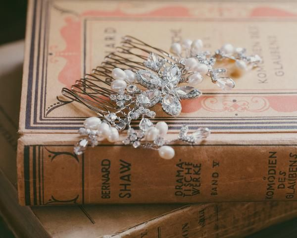 Wedding Hair Combs - Freshwater Pearl, Floral Bridal Hair Comb, Nessa