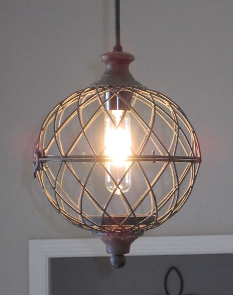 Rustic Small Metal Globe Pendant Light - distressed, rustic lighting, unique , farmhouse style, vintage, industrial light, kitchen light, pendant